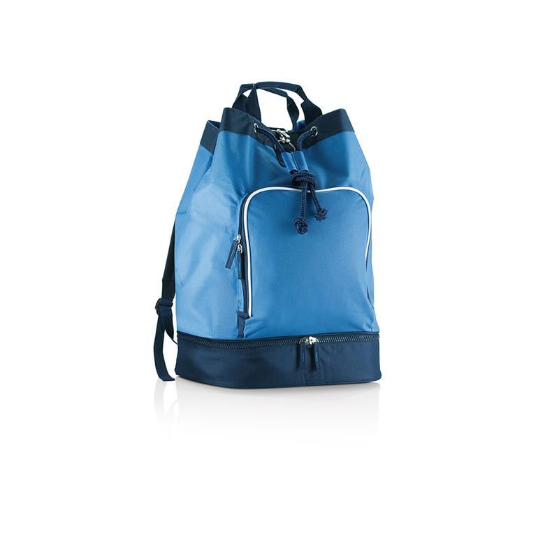 sacca in tessuto blu royal e blu navy con chiusura a strozzo