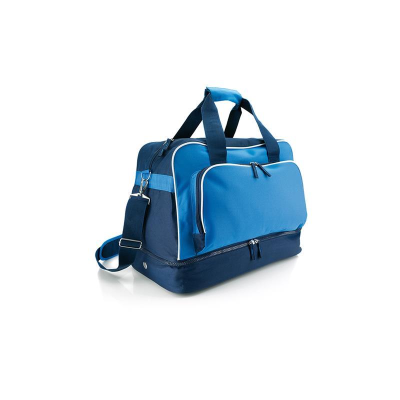 borsa in tessuto blu royal con doppio fondo con fori
