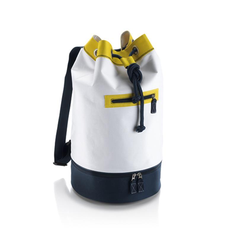 sacca in tessuto giallo e blu navy con chiusura a strozzo