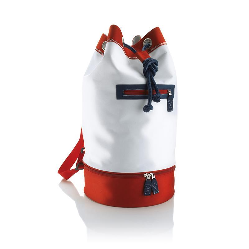sacca in tessuto rosso e blu navy con chiusura a strozzo