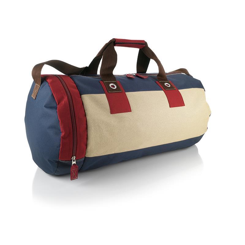 borsa in tessuto bordeaux e blu navy forma cilindrica con tasche