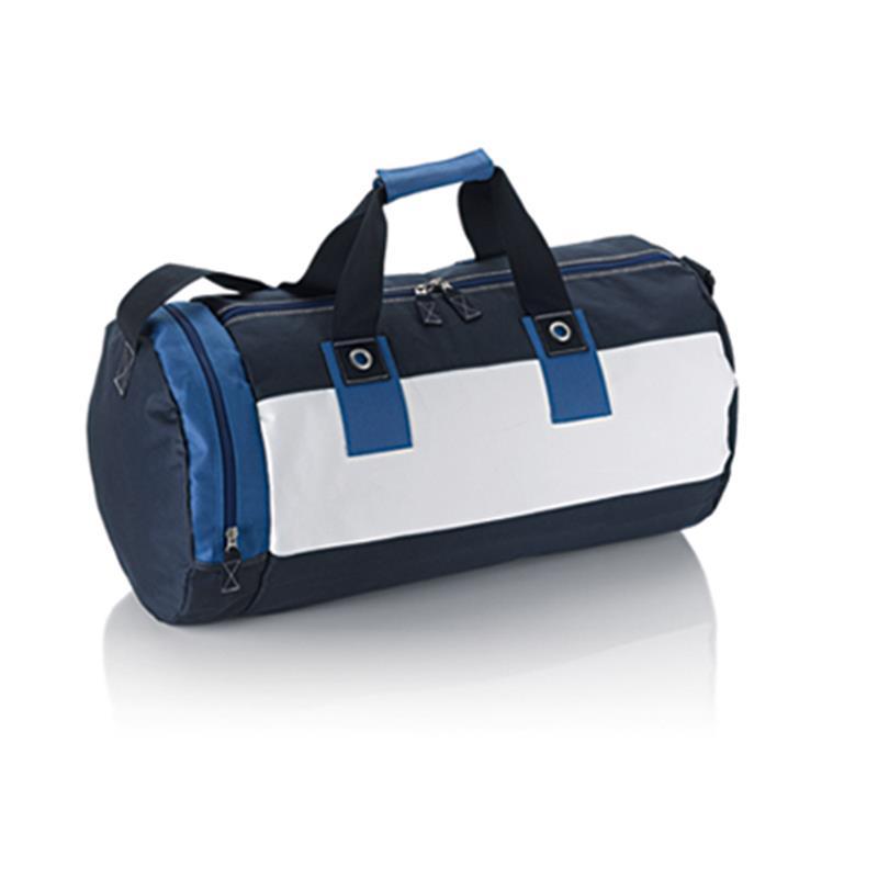 borsa in tessuto ciano e blu navy forma cilindrica con tasche