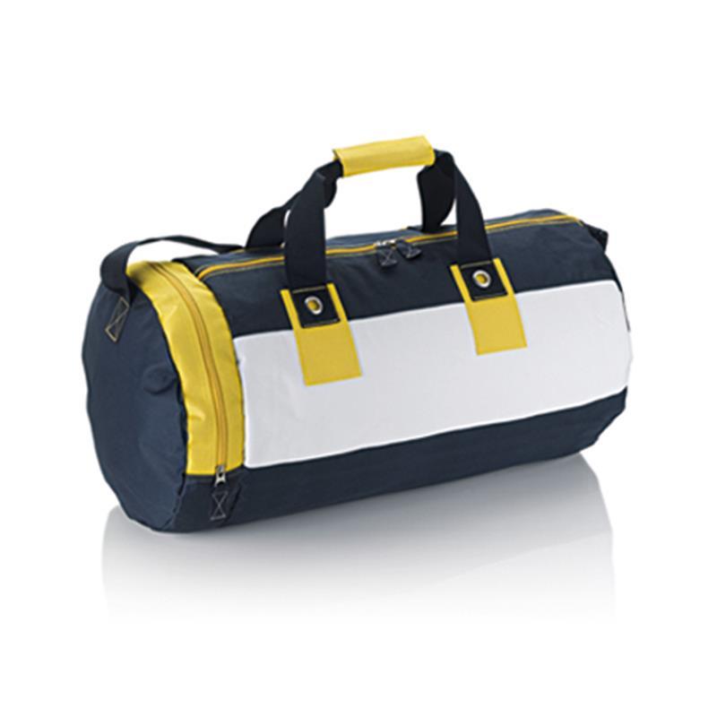 borsa in tessuto giallo e blu navy forma cilindrica con tasche