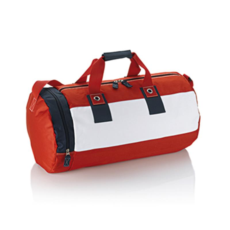 borsa in tessuto rosso e blu navy forma cilindrica con tasche