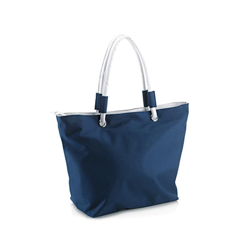 borsa mare in tessuto blu navy e bianco con borsello interno