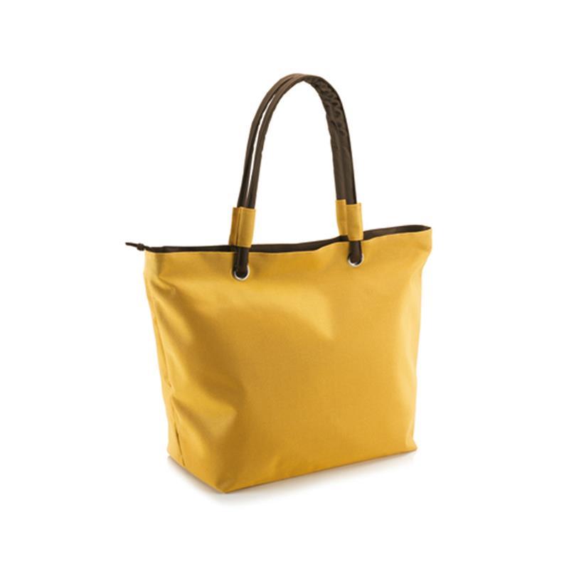 borsa mare in tessuto giallo e marrone con borsello interno