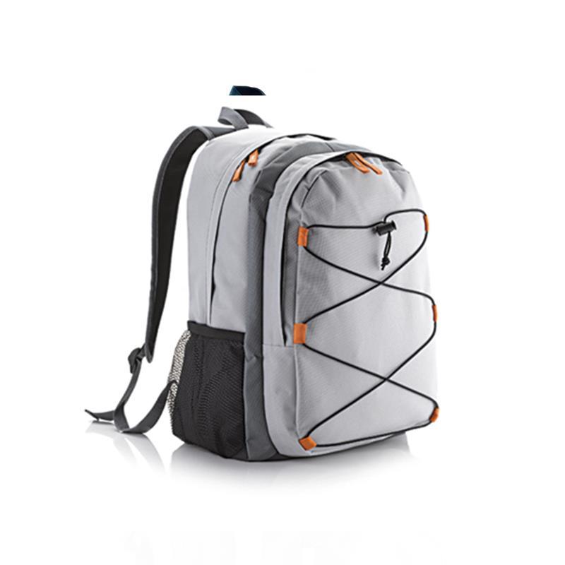 zaino trekking grigio e arancio con tasca frontale accessoriata