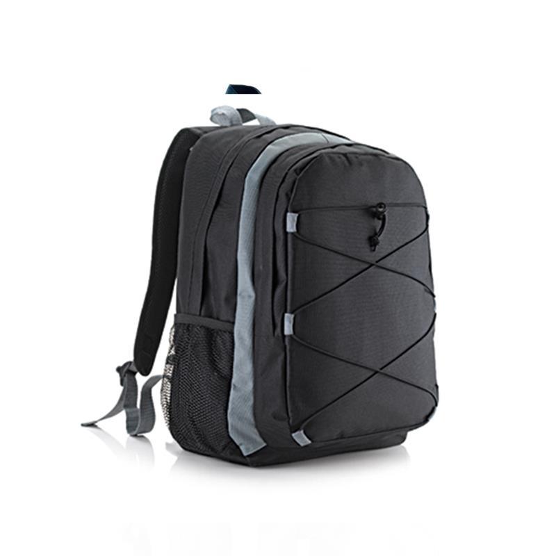 zaino trekking nero e grigio con tasca frontale accessoriata