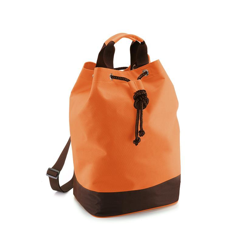 sacca in tessuto arancio e marrone con chiusura a strozzo