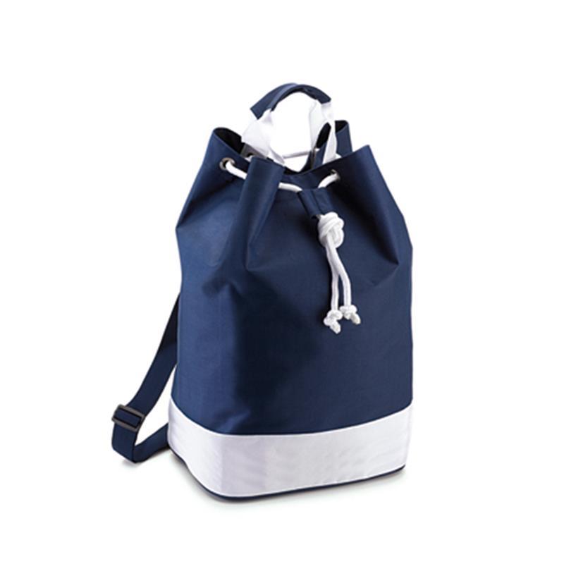sacca in tessuto blu navy e bianco con chiusura a strozzo