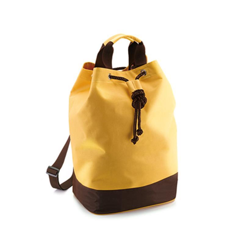 sacca in tessuto giallo e marrone con chiusura a strozzo