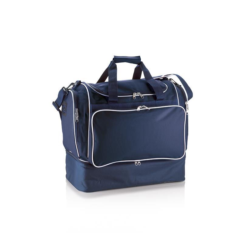 borsa da calcio in tessuto blu navy e bianco apertura a pozzetto