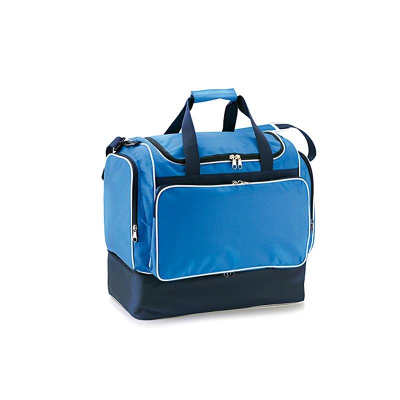 borsa da calcio in tessuto blu royal e blu navy apertura a pozzetto