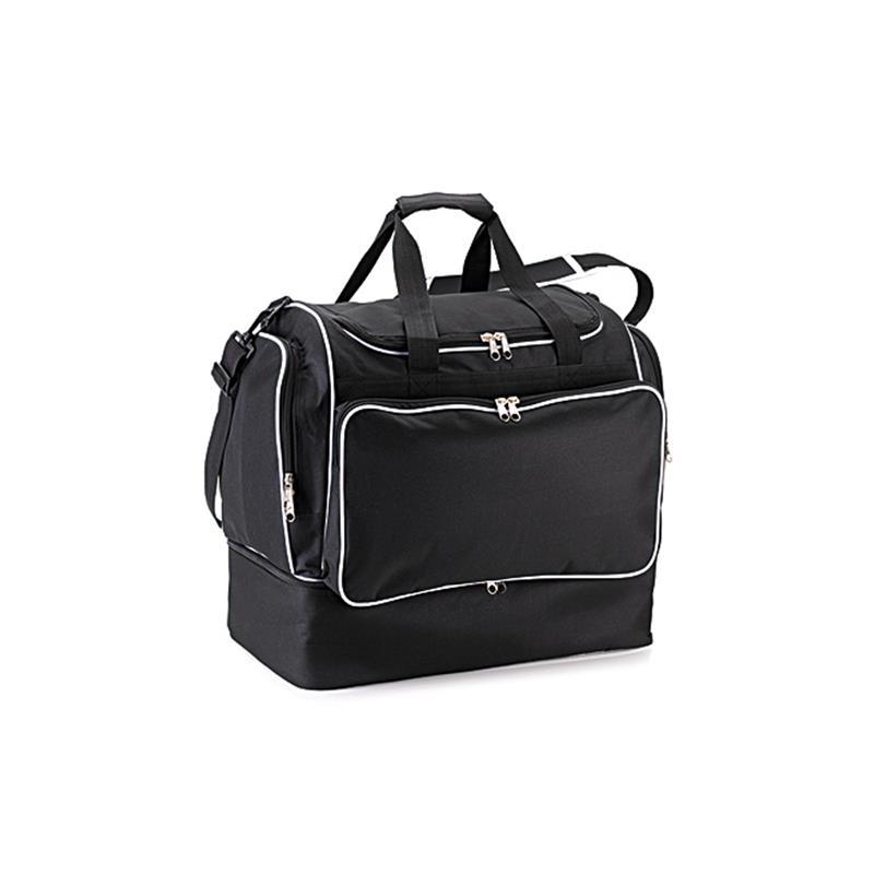 borsa da calcio in tessuto nero e bianco apertura a pozzetto