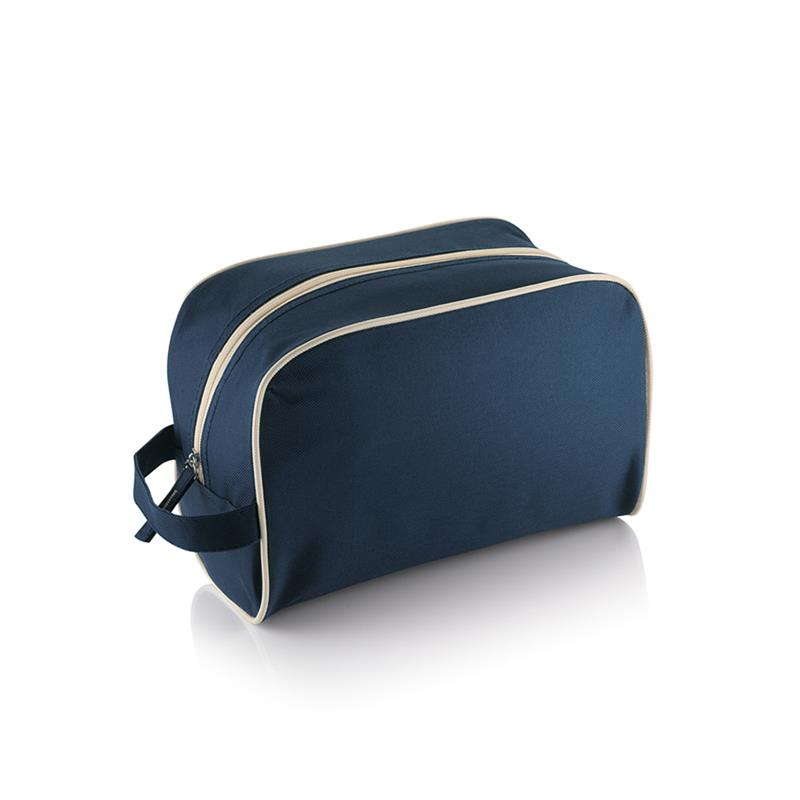 beauty case blu navy e beige con zip in contrasto