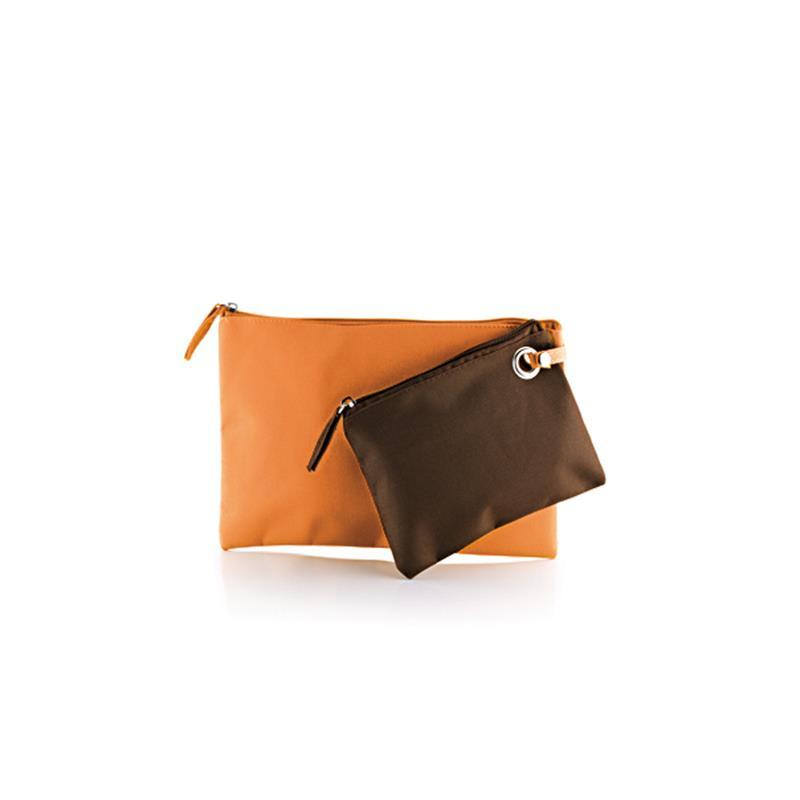 doppia bustina in tessuto arancio e marrone con zip