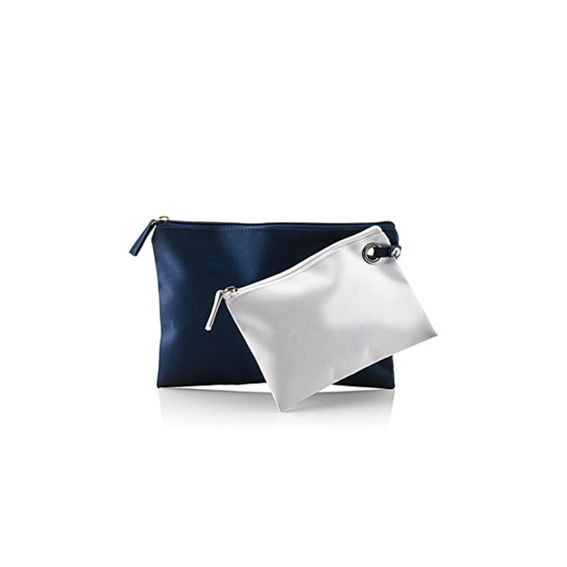 doppia bustina in tessuto blu navy e bianco con zip