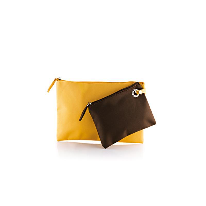 doppia bustina in tessuto giallo e marrone con zip