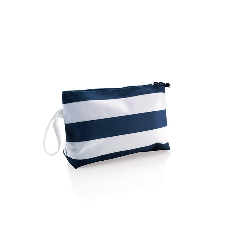 pochette blu navy e bianco con zip e maniglia laterale