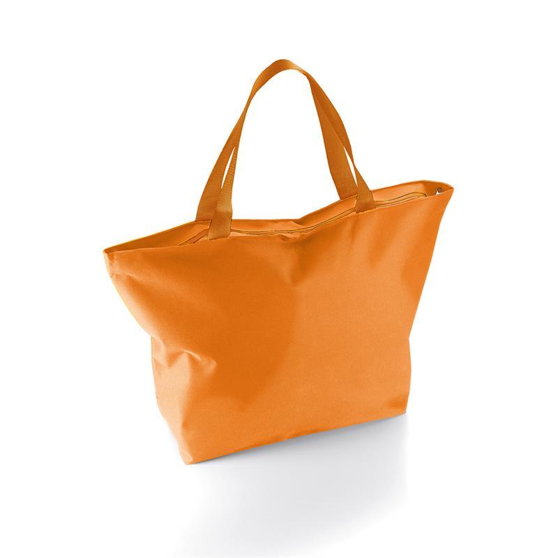 borsa mare a sacco in tessuto arancio con zip
