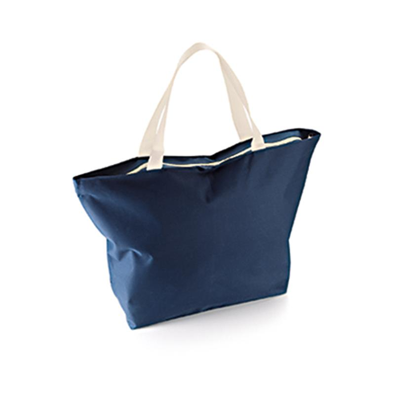 borsa mare a sacco in tessuto blu navy e beige con zip