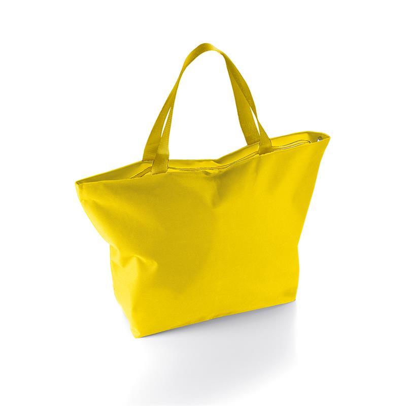 borsa mare a sacco in tessuto giallo con zip