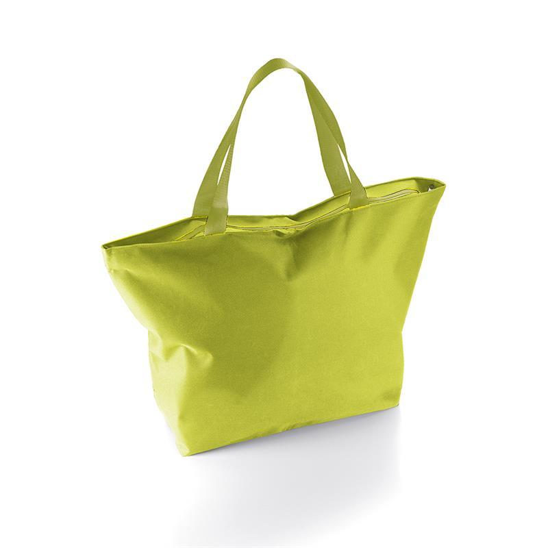 borsa mare a sacco in tessuto lime con zip