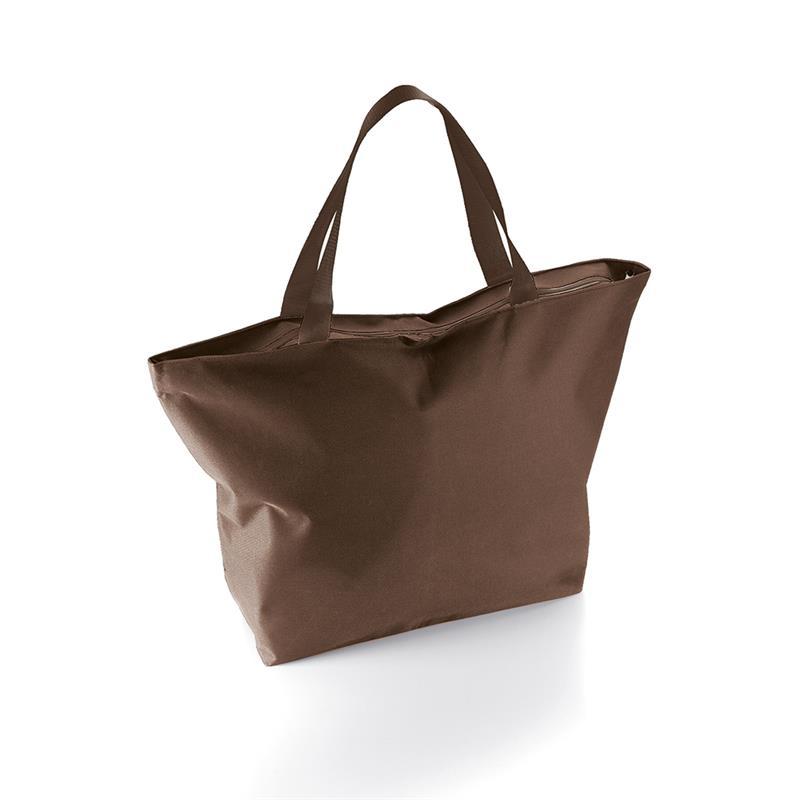 borsa mare a sacco in tessuto marrone con zip