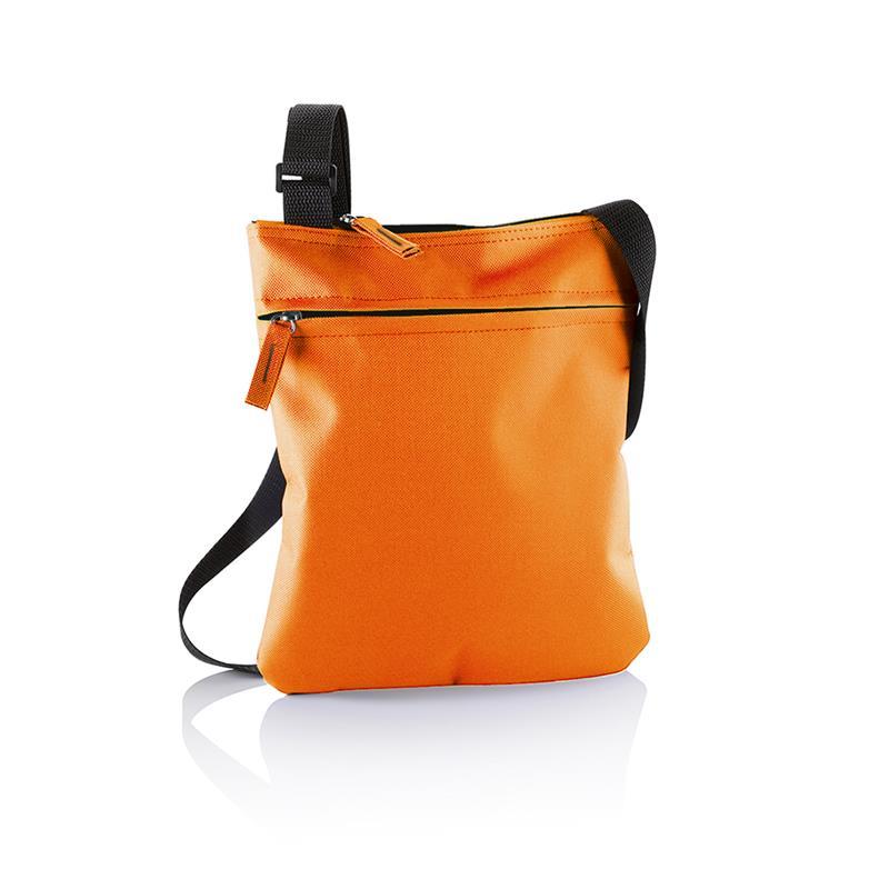 tracollina arancio con comparto tasca frontale e tracolla regolabile