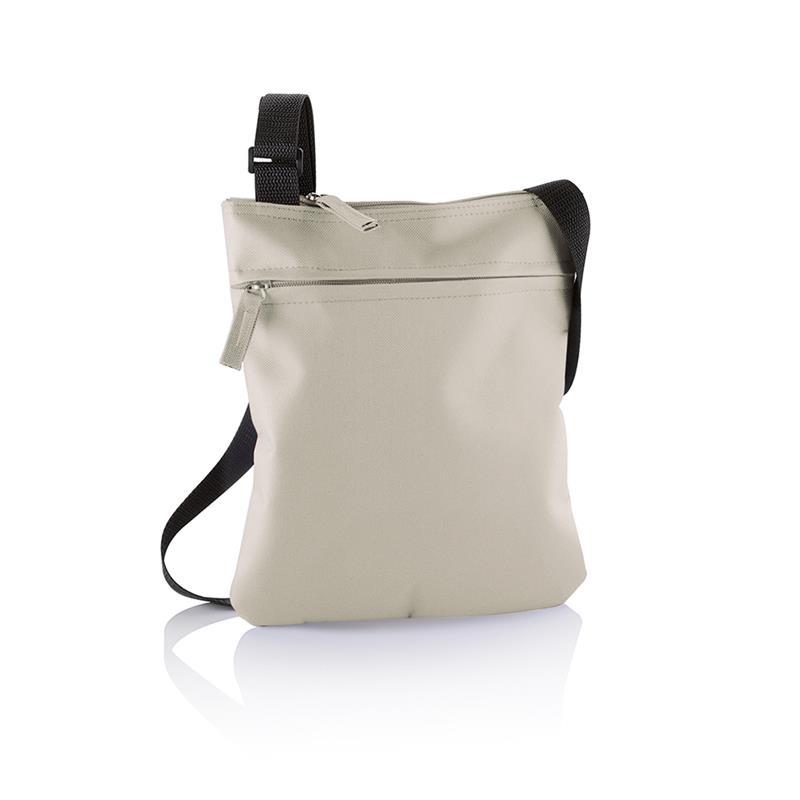 tracollina beige con comparto tasca frontale e tracolla regolabile