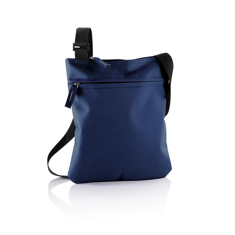 tracollina blu navy con comparto tasca frontale e tracolla regolabile