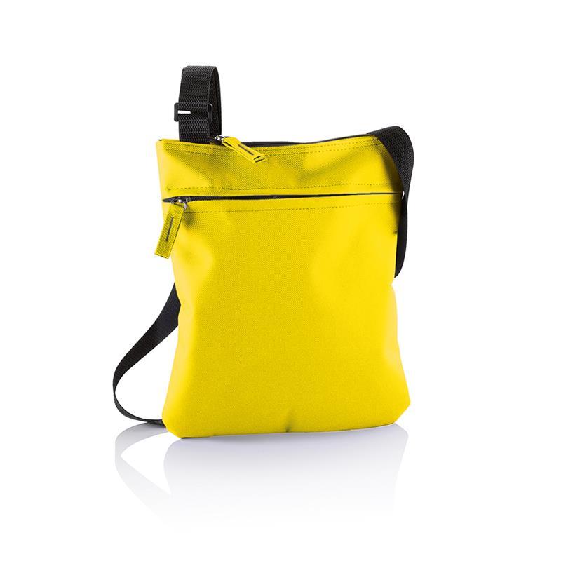 tracollina gialla con comparto tasca frontale e tracolla regolabile