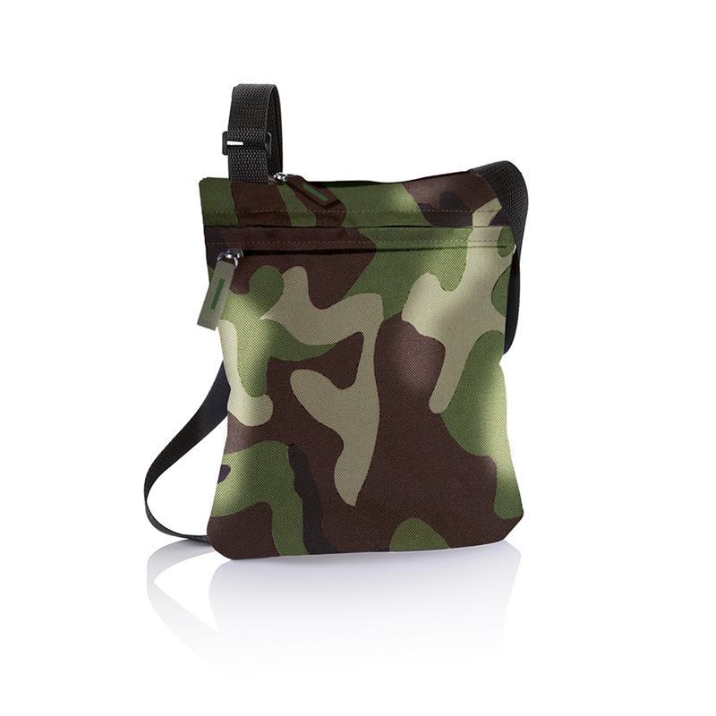 tracollina camouflage comparto tasca frontale e tracolla regolabile