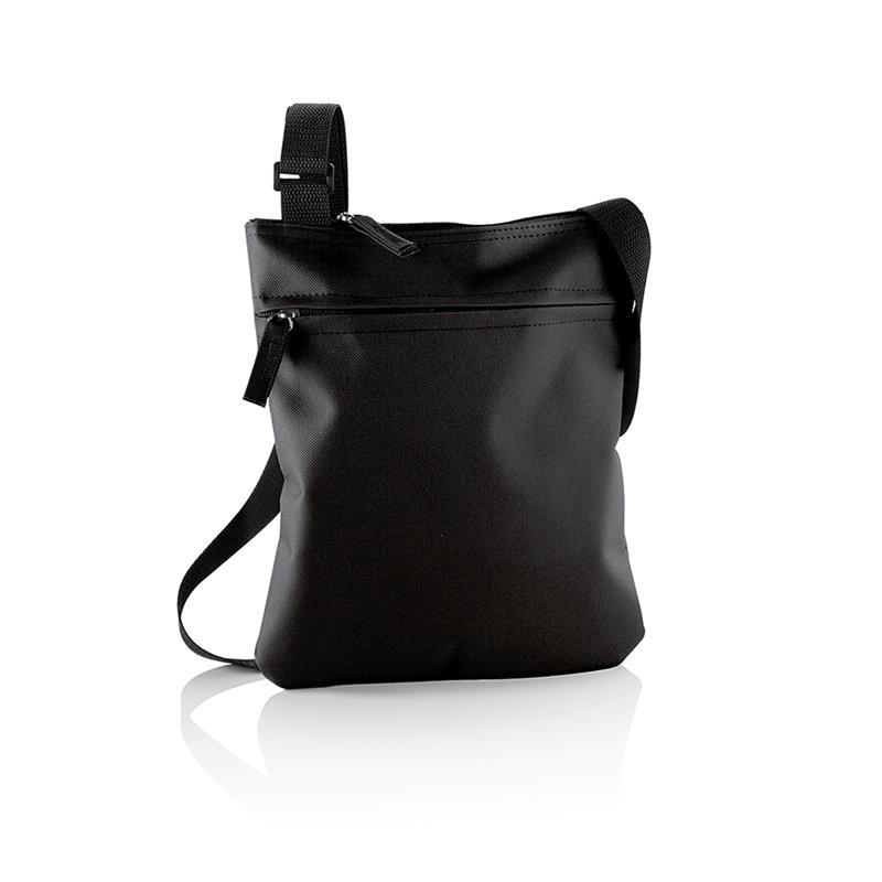 tracollina nera con comparto tasca frontale e tracolla regolabile
