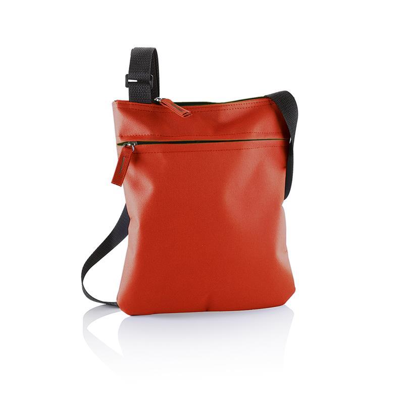 tracollina rossa con comparto tasca frontale e tracolla regolabile