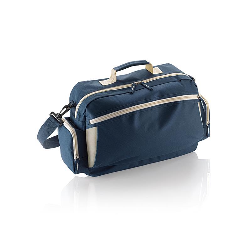 borsa in tessuto blu navy e beige comparto con zip con tasche