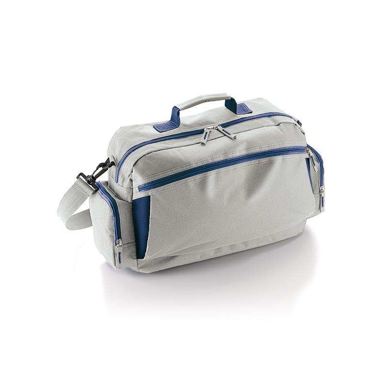 borsa in tessuto grigio e blu avio comparto con zip con tasche