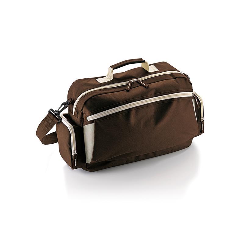 borsa in tessuto marrone e beige comparto con zip con tasche