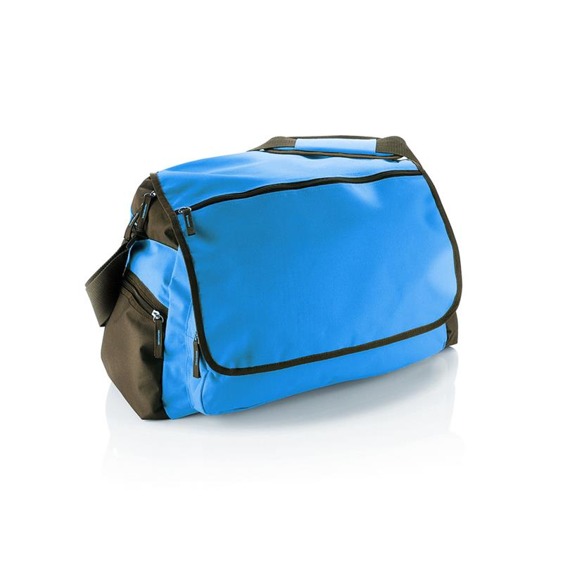 borsa in tessuto blu royal comparto principale con zip e patella