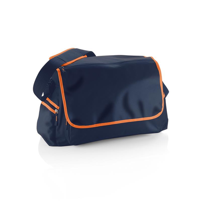 borsa in tessuto blu e arancio comparto principale con zip e patella