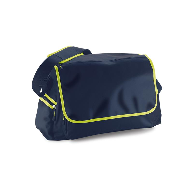 borsa in tessuto blu navy e lime comparto principale con zip e patella
