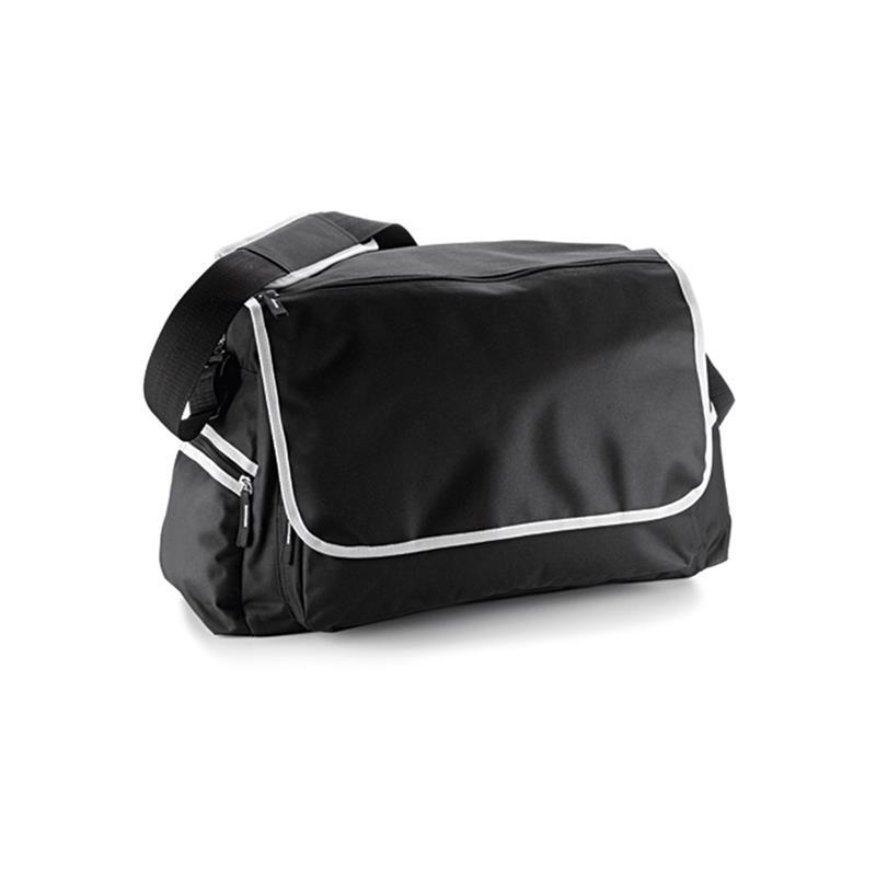 borsa in tessuto nero e bianco comparto principale con zip e patella