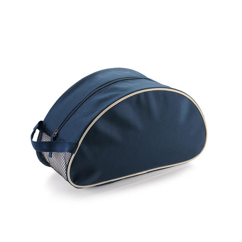 beauty case blu navy e beige con dettagli in rete e maniglia