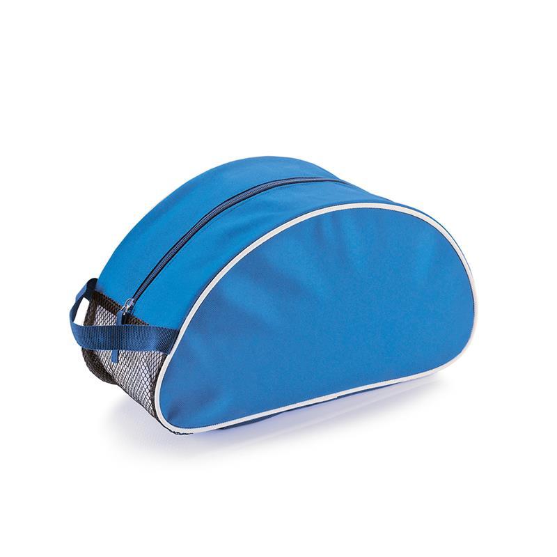 beauty case blu royal e blu navy con dettagli in rete e maniglia