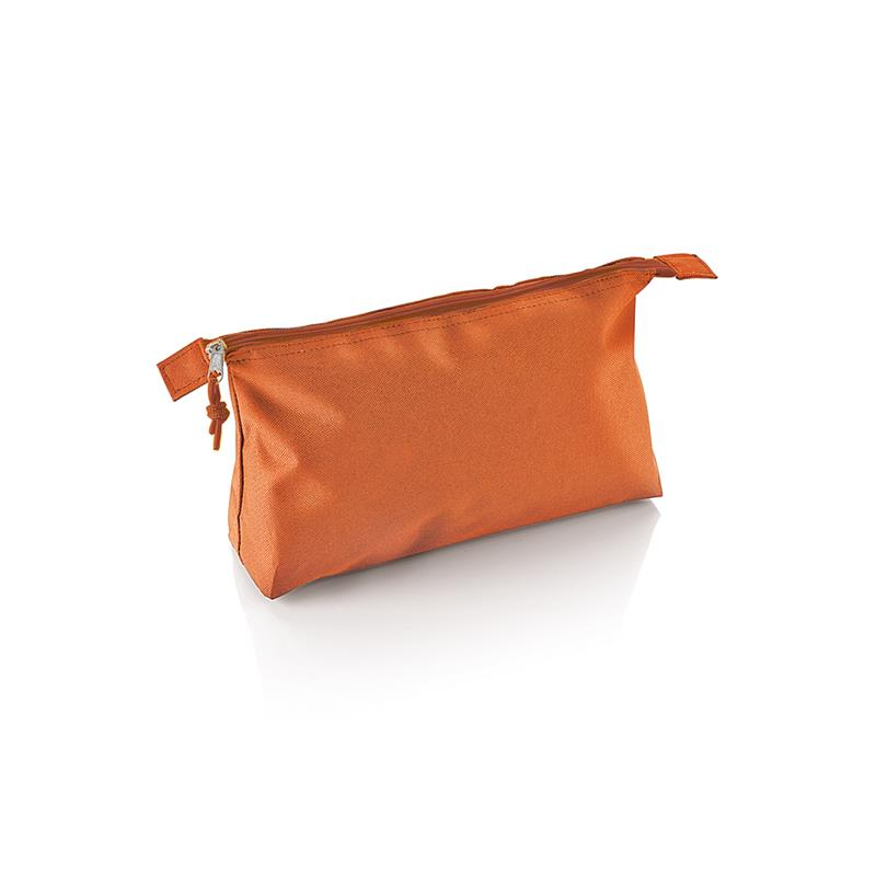 beauty case in tessuto arancio con tira zip in tinta