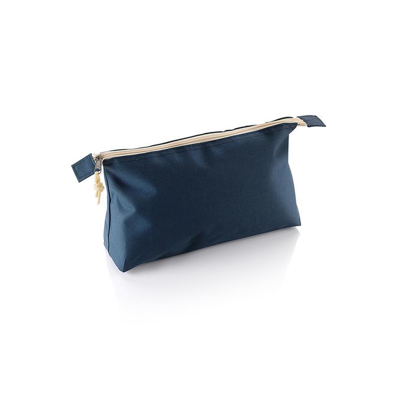 beauty case in tessuto blu navy e beige con tira zip in tinta