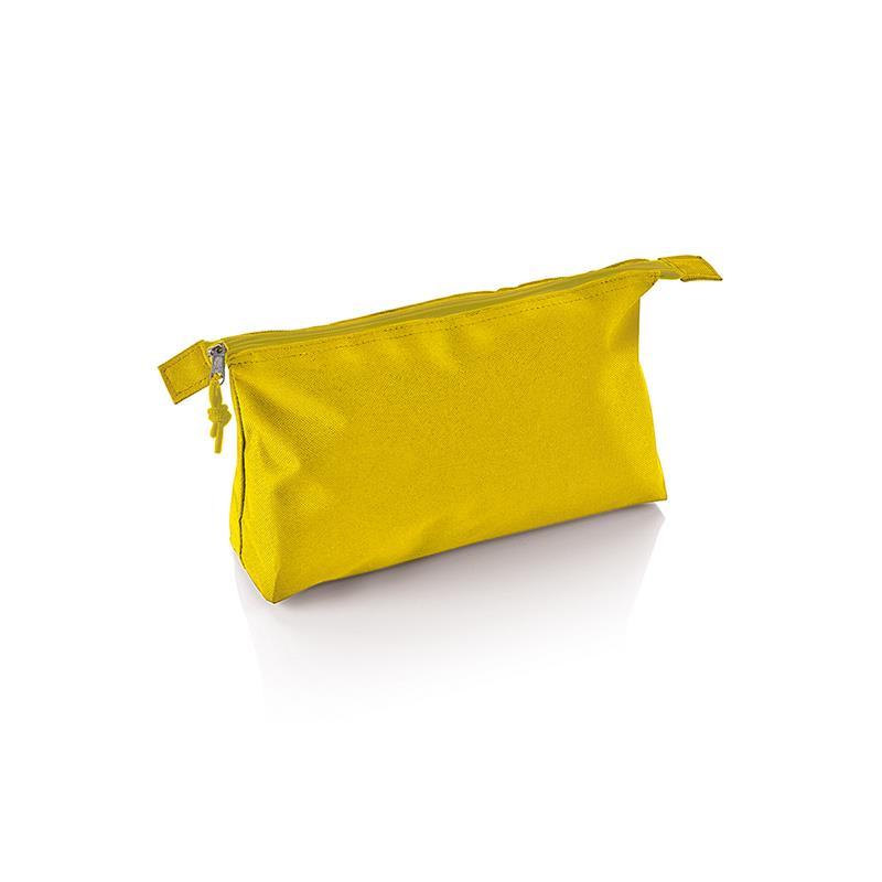 beauty case in tessuto giallo con tira zip in tinta