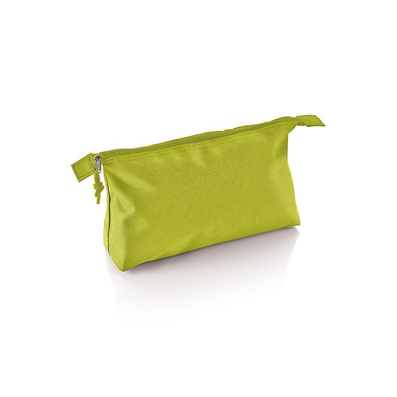 beauty case in tessuto lime con tira zip in tinta