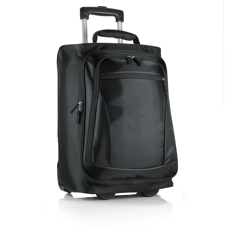 trolley in tessuto nero con interno foderato e cinghie di fissaggio