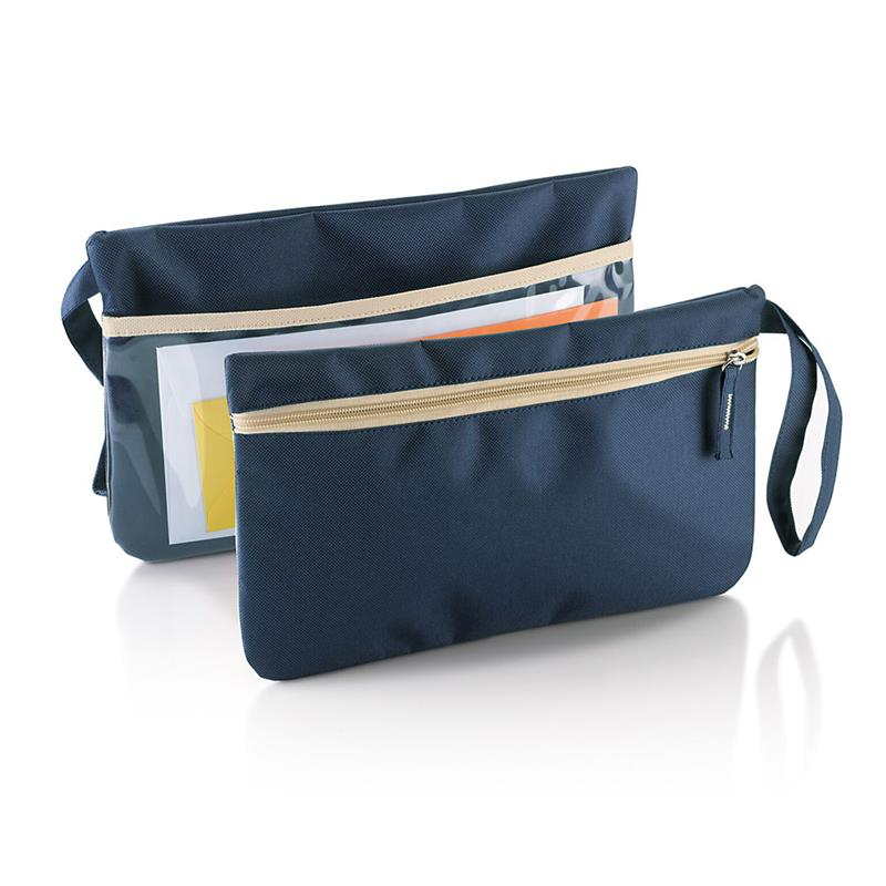 porta documenti con tasca trasparente maniglia e tira zip